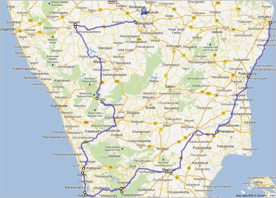 Namaste Voyages – South India Map With Tourist Places